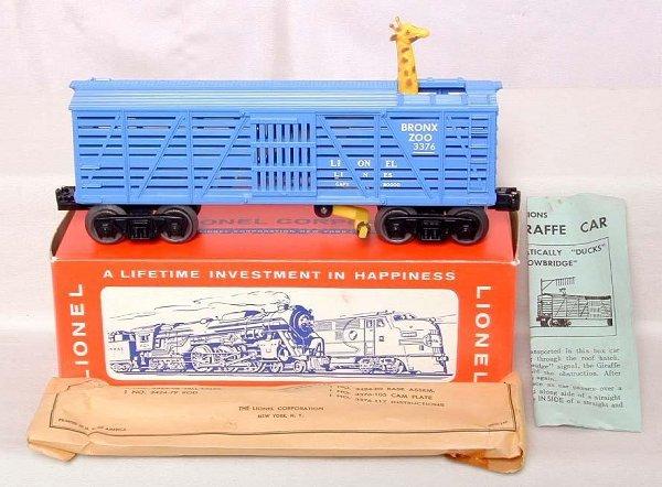 872: Mint Lionel 3376 giraffe car, OB