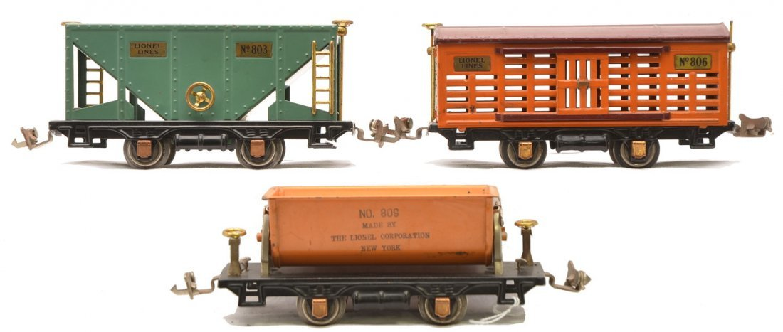 Lionel 4-Wheel Freight Cars 803 806 809