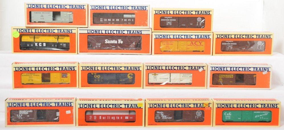 15 Lionel freight cars 16234, 9481, 19200, etc