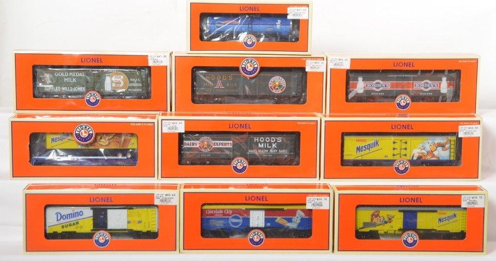 10 Lionel milk cars, Nestle, Domino, etc 17355, 17357,