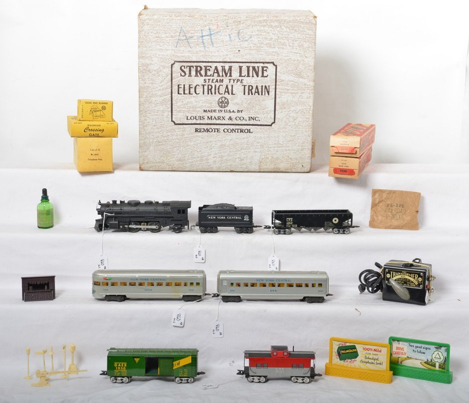 Marx 52635 NYC steam passenger freight set in OB w/
