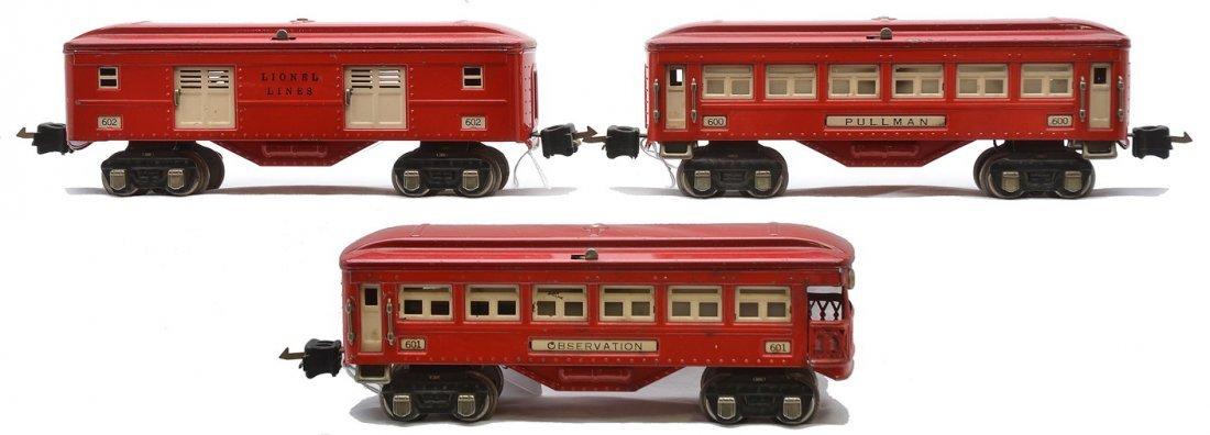 Lionel Postwar Red Pass Cars 602 600 601