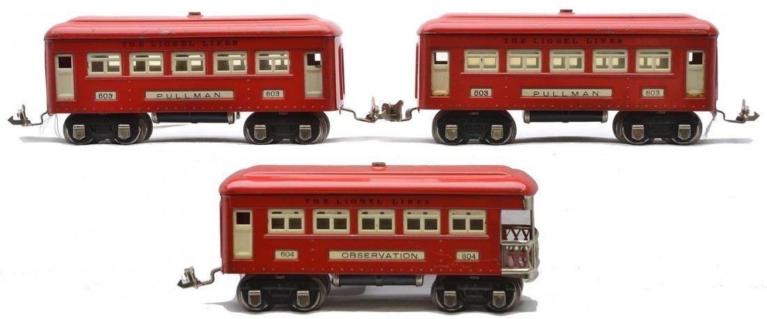 Lionel Postwar Red Passenger Cars 603 603 604