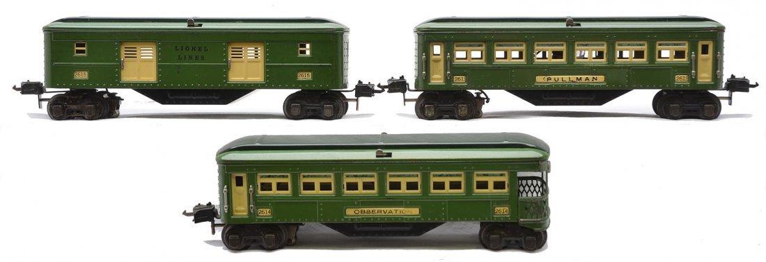 Lionel 2-Tone Green Passenger Cars 2615 2613 2614
