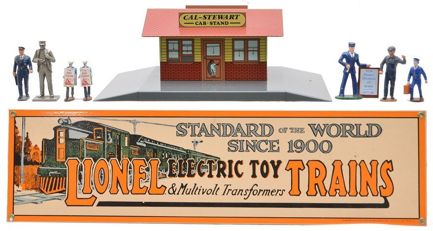 Litho Cal-Stewart Stand Lionel Sign Repro Figures