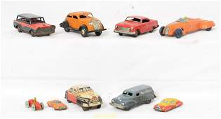Group of Nine Vintage Tin Vehicles