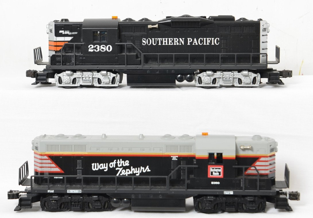 Lionel Burlington and Southern Pacific GP-9 locos with