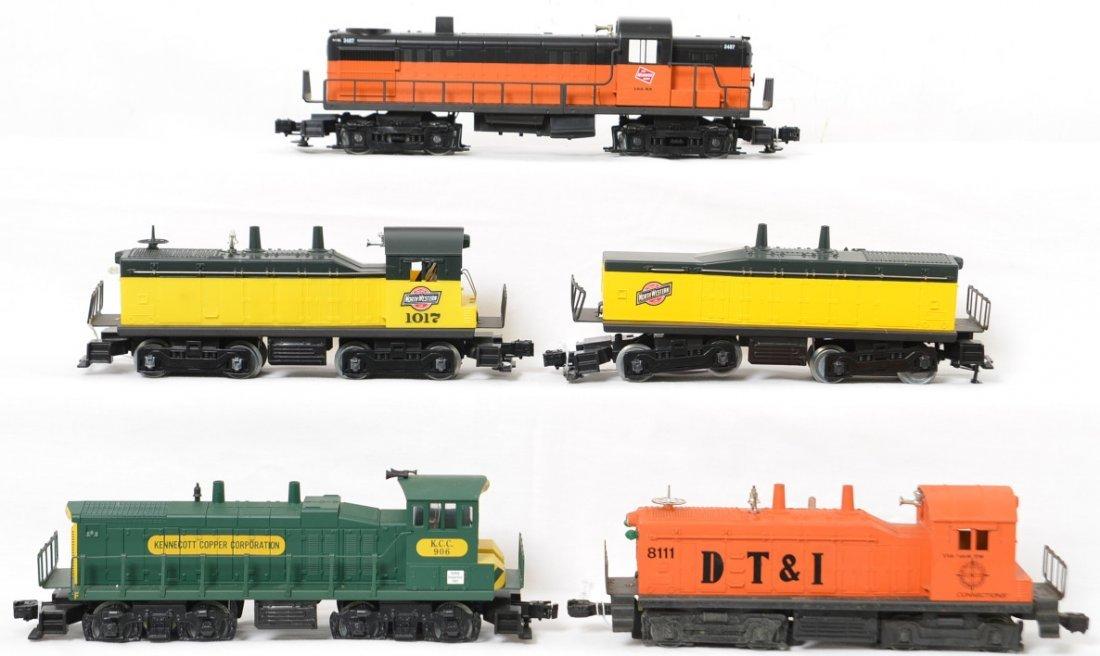5 Lionel and K line switchers, Kennecott, C&NW, etc