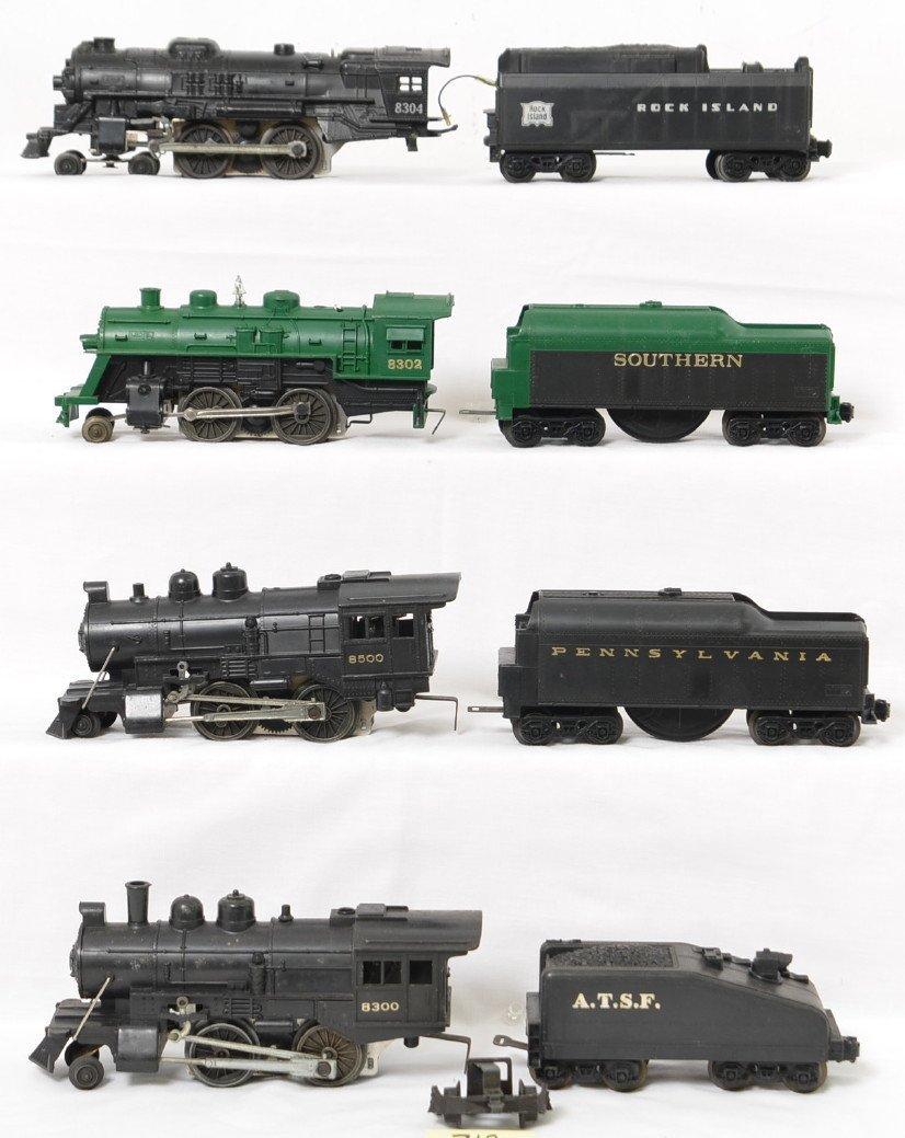 4 Lionel steam locomotives 8300, 8500, 8302, 8304