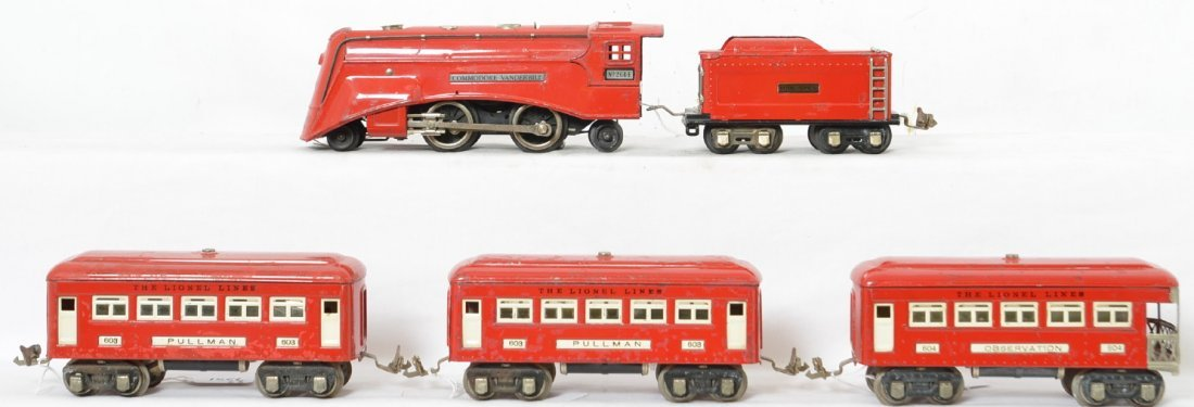 Lionel 264-E/tender w/603, 603, and 604 red passenger