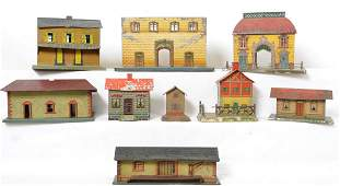 Eight prewar Bing and others, railroad buildings,
