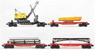 Lionel Postwar O 6511 6801 6825 6827 flat cars with