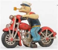 Hubley cast iron Popeye Harley motorcycle patrol NICE