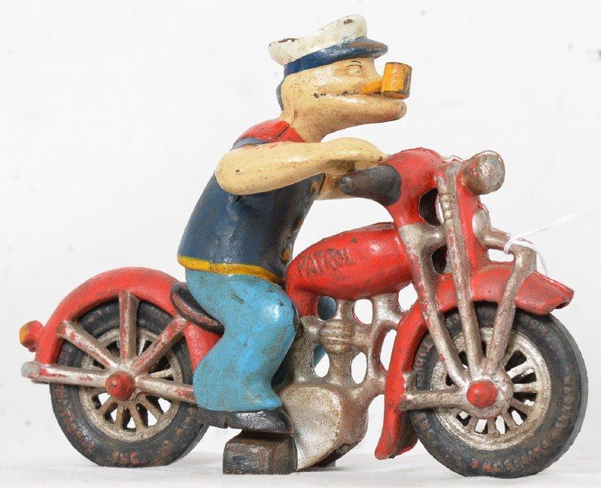Hubley cast iron Popeye Harley motorcycle patrol NICE - 2