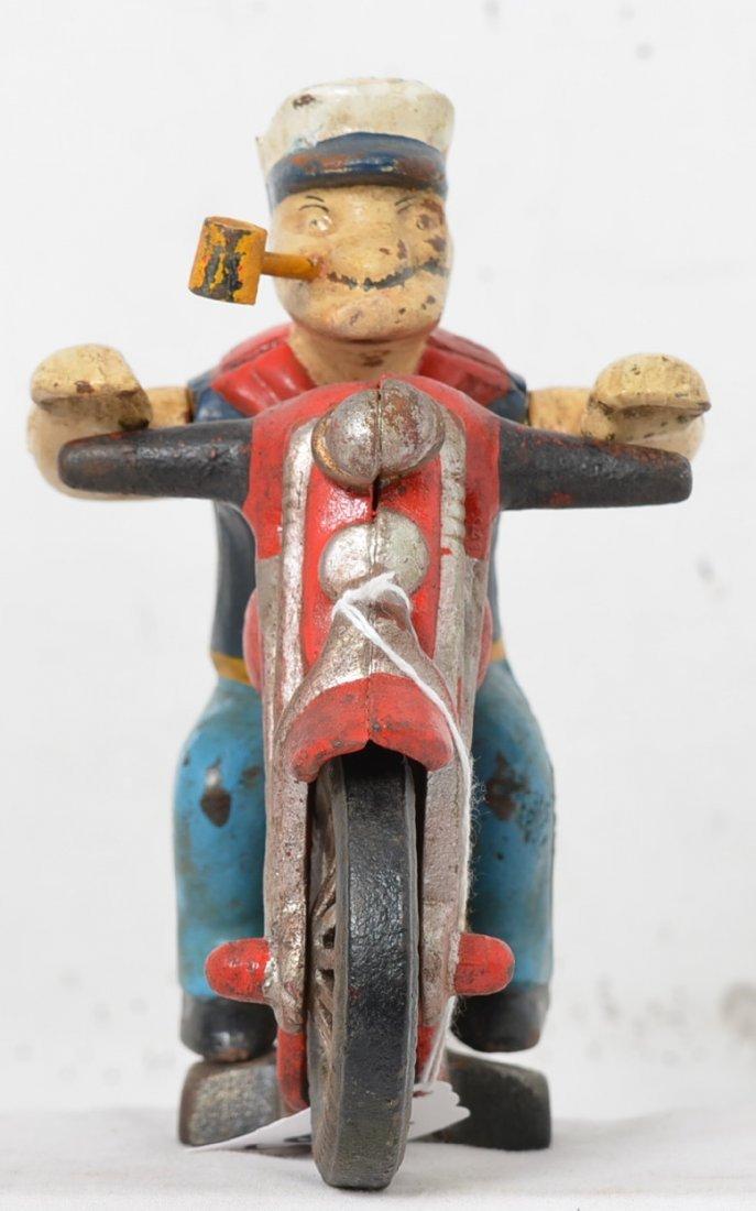Hubley cast iron Popeye Harley motorcycle patrol NICE - 3