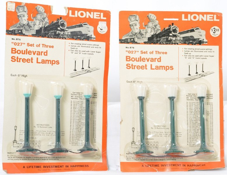 Two Lionel Postwar O gauge B76 blister packs one with