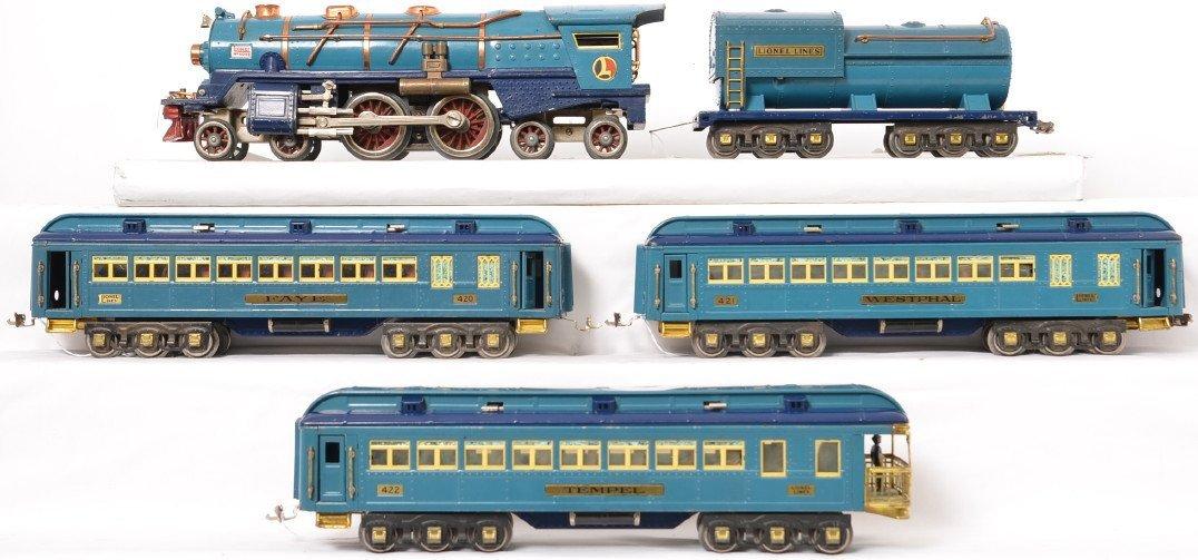 Lionel prewar standard gauge Blue Comet set w/ 3 OBs