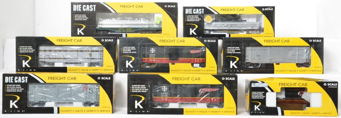 8 K Line freight cars, some die cast and operating