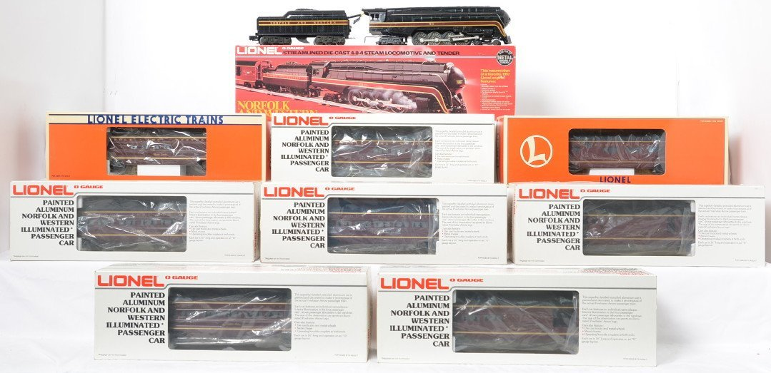 Lionel 8100 N&W J class and 8 passenger cars