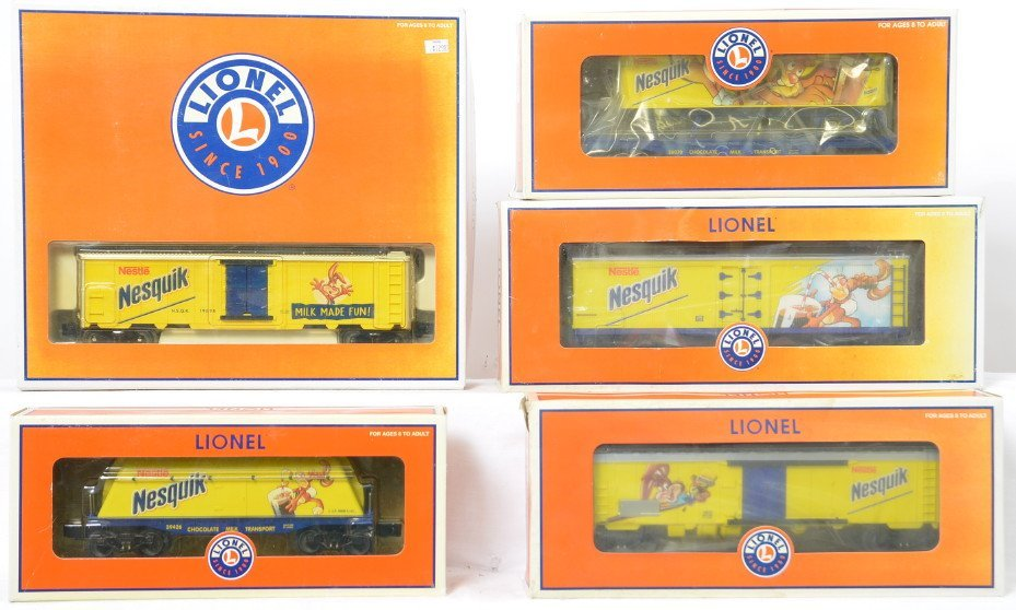 5 Lionel Nesquik cars 19898 26070 17356 etc