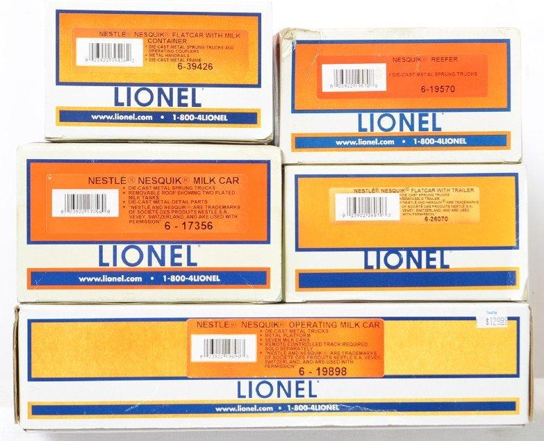 5 Lionel Nesquik cars 19898 26070 17356 etc - 2