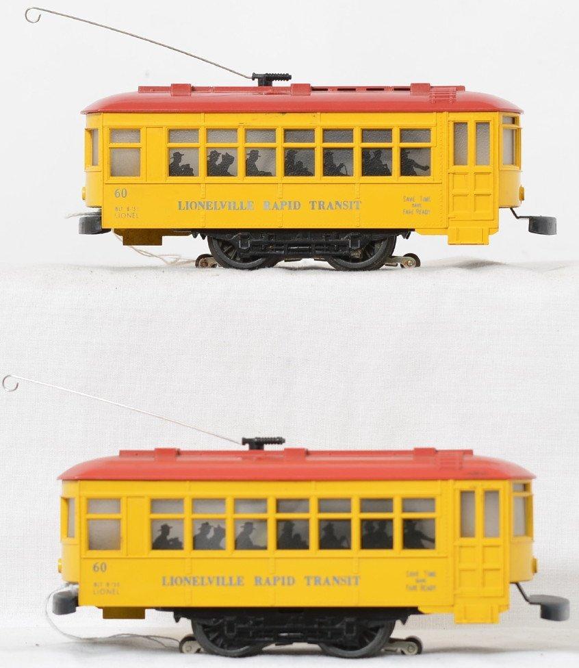 Lionel Postwar O gauge 60 trolleys blue lettering 2