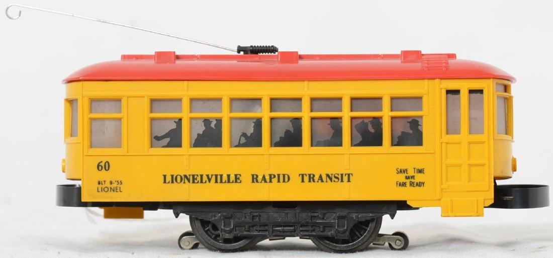 Lionel Postwar O gauge 60 trolley with black lettering