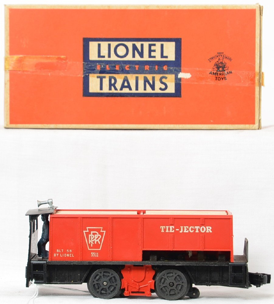 Lionel Postwar O gauge tie-jector car in OB