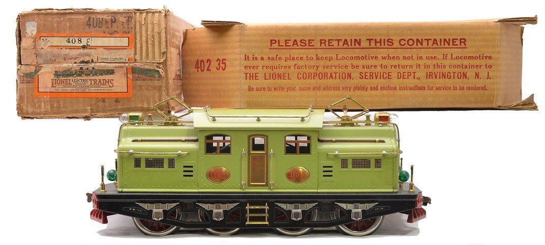Lionel Std. Ga. 408E Apple Green Electric Loco OB