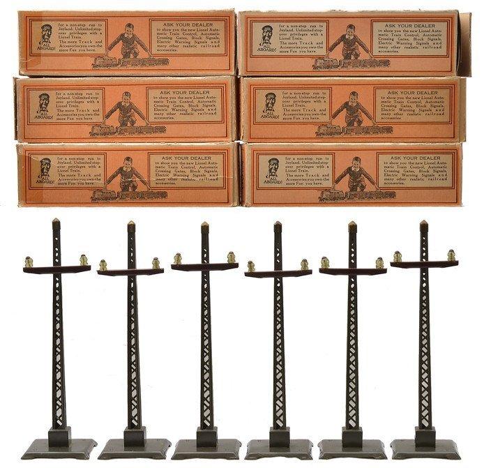 Lionel six no. 60 Gray Telegraph Posts Boxed