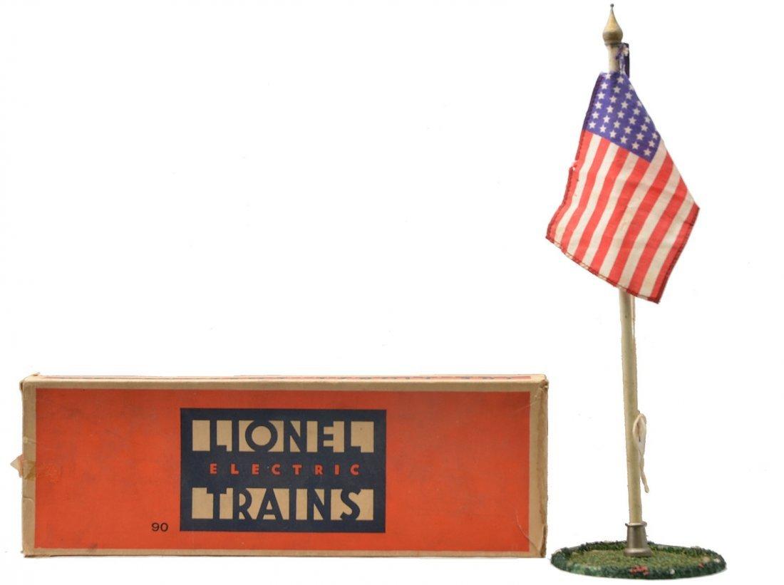 Lionel Std. Ga. no. 90 Flag Pole w/Grass Plot OB