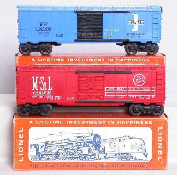 10: Lionel 6464-525 M&StL 6464-475 B&M boxcars, OBs