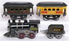 606: American Flyer prewar steam set with Chicago cars