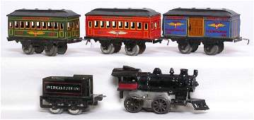 959: American Flyer prewar steam loco and 3 pass. cars