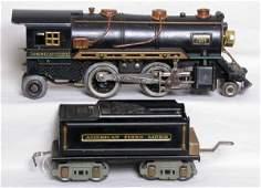 1003: American Flyer prewar steam engine and tender