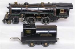1026: American Flyer prewar steam engine and tender