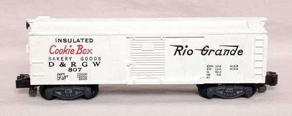 2159: Rare American Flyer 807 PAINTED Rio Grande boxcar