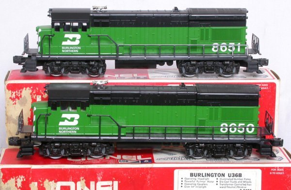 5: Lionel 8650 8651 Burlington Northern U36B set OBs