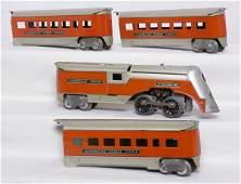 170: American Flyer orange Streamline 4-piece set
