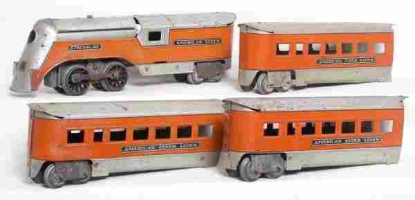 American Flyer prewar O streamline 4-piece set
