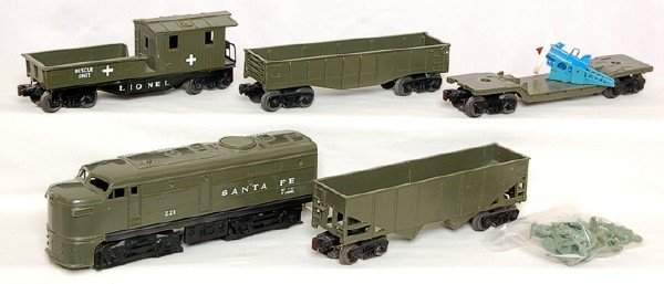 813: Lionel olive drab 221 Santa Fe with olive cars