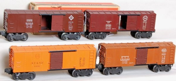 15: Four Lionel X6454 boxcars NYC, ATSF, Erie, SP