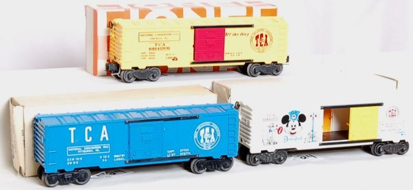 24: Group of Lionel TCA boxcars, Mickey and others