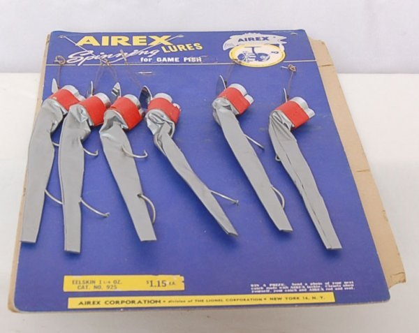 362: Lionel Airex Eelskin fishing lure display