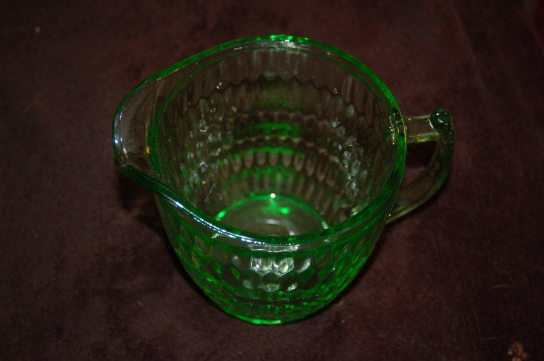 URANIUM GLASS PITCHER GLOWS IN BLACKLIGHT