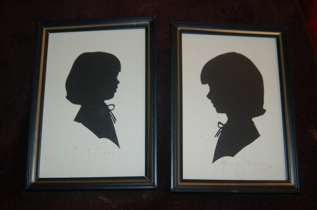 PAIR OF ARTIST SIGNED SILHOUETTES