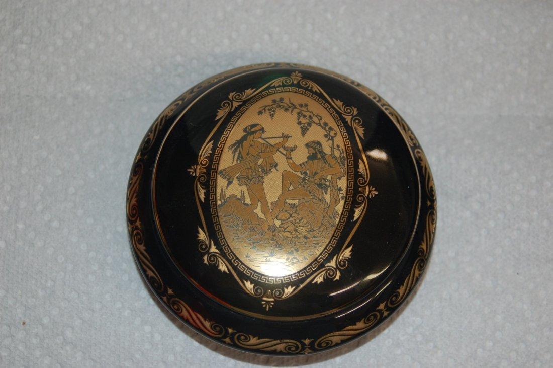 24 KT GOLD DECORATED GREECE DRESSER JAR