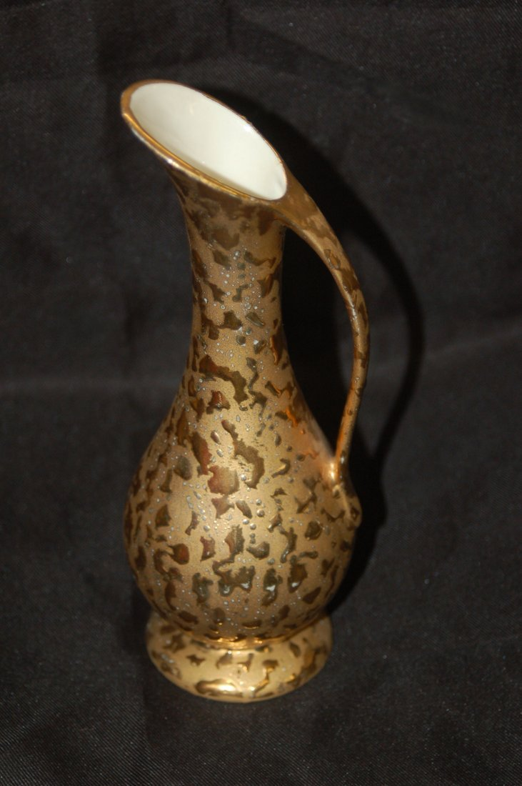 GOLD DECORATED CRAWFORD POTTERY EWER