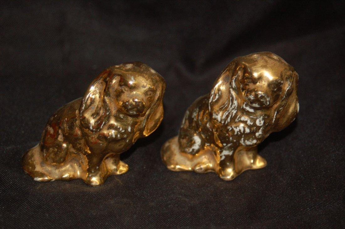 GOLD DECORATED FIGURAL DOG SALT AN PEPPER SET
