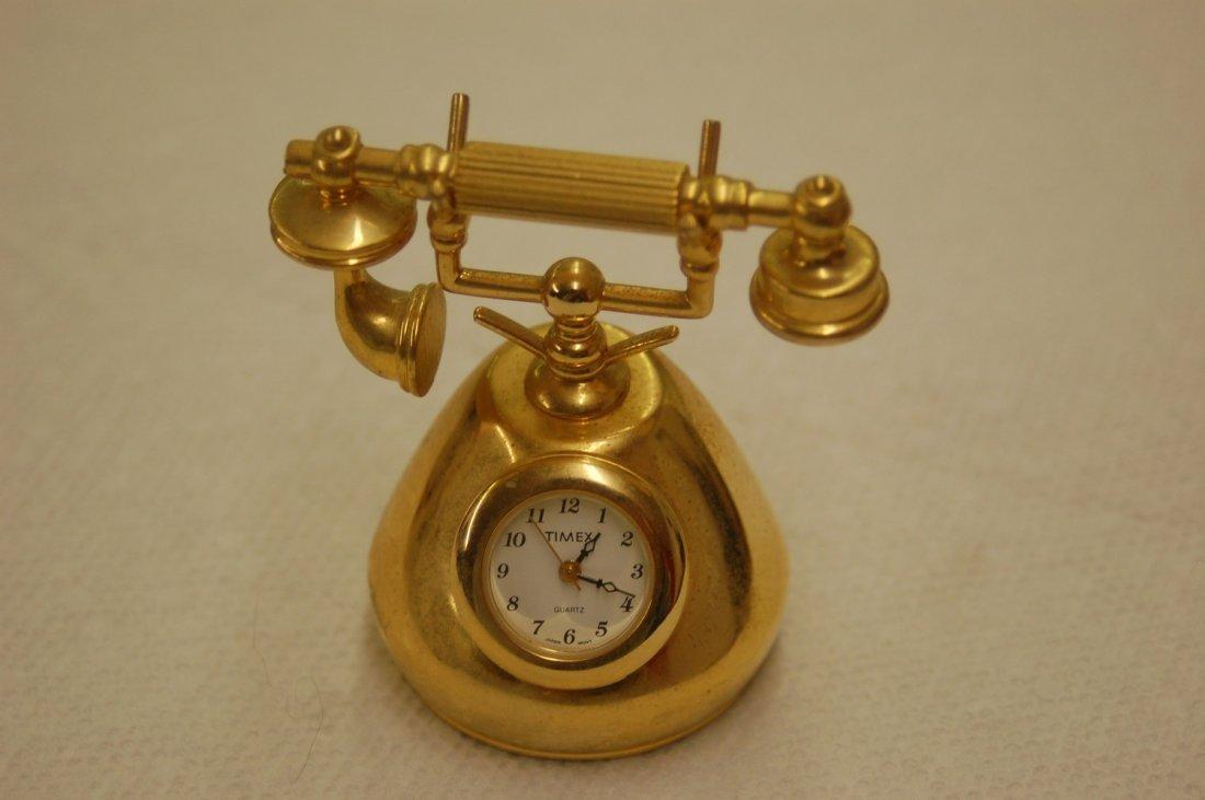 HEAVY MINI TIMEX CLOCK VINTAGE GOLD PHONE